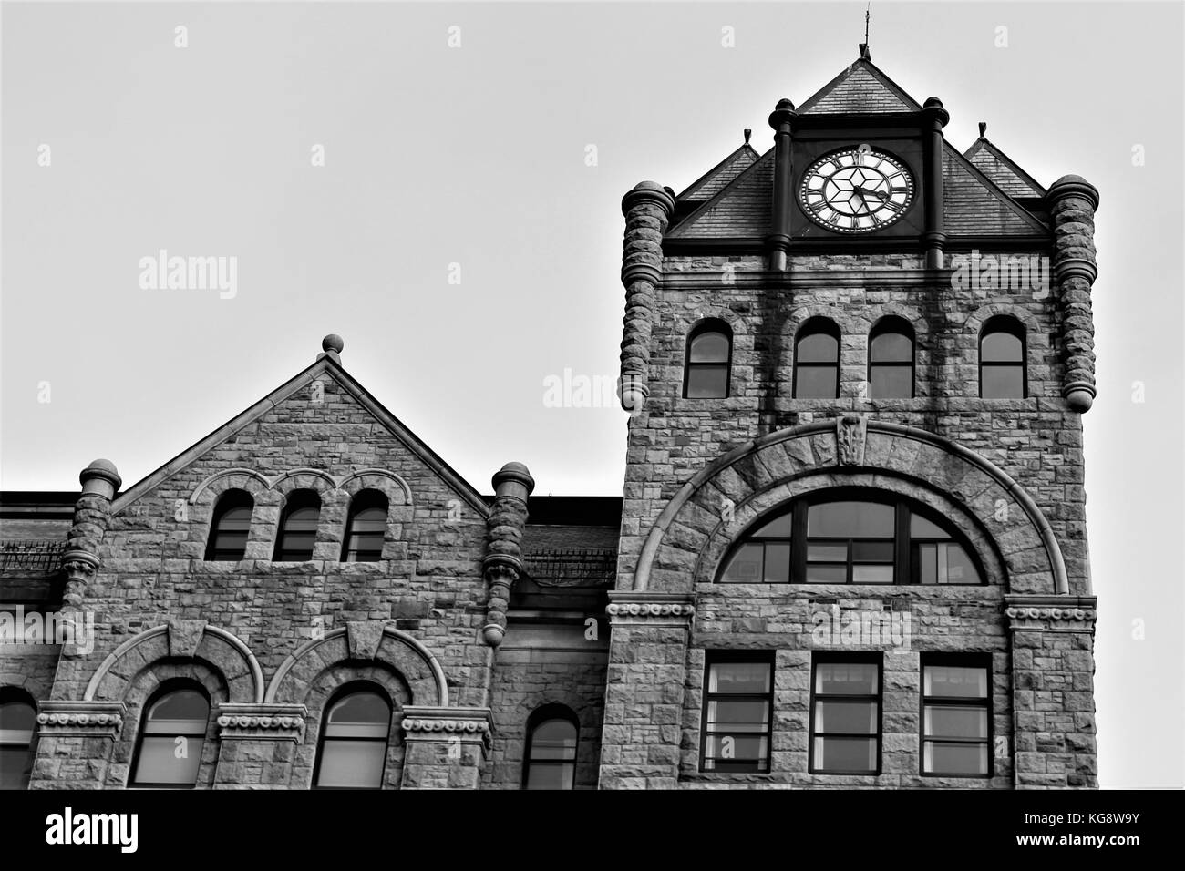 Clock tower in the courthouse building, St. John's, Newfoundland and Labrador, Canada. - Stock Image