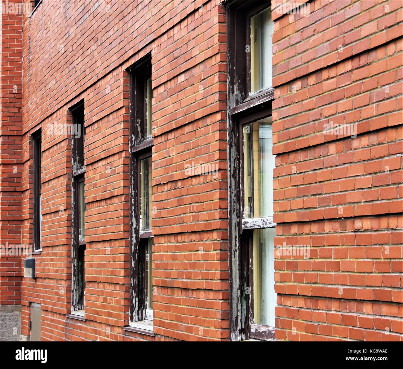 Old fashioned wood framed windows in red brick wall Stock Photo ...
