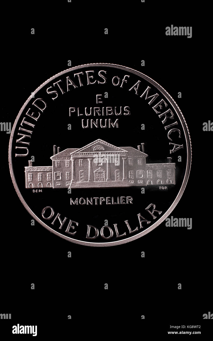 USA liberty dollar. In honor of James Medison. 1993. Reverse. Path on black background. - Stock Image