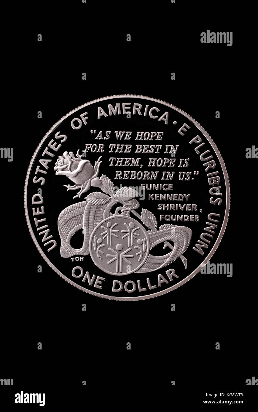 USA liberty dollar. In honor of Special Olympics World Games. 1995. Reverse - Stock Image