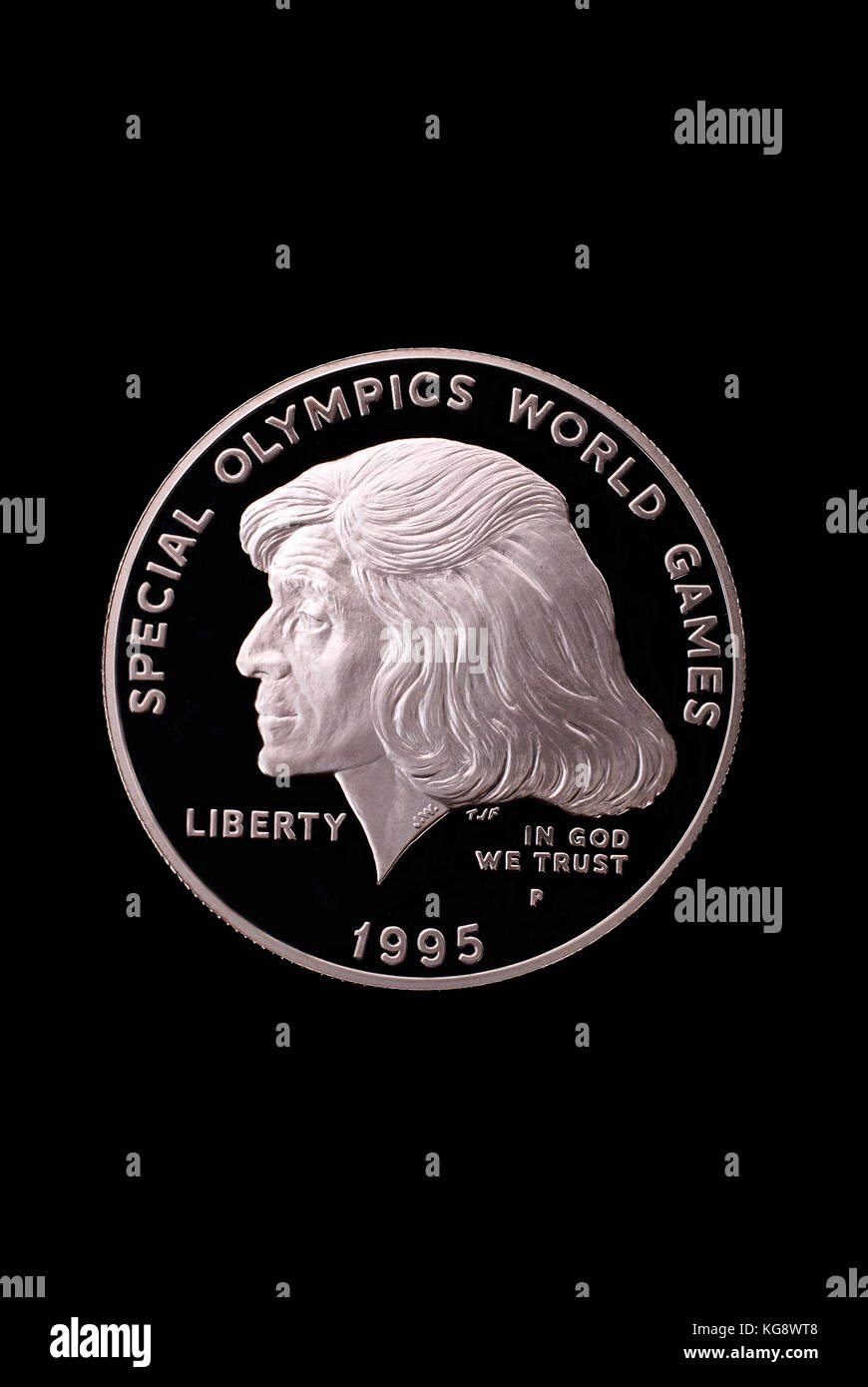 USA liberty dollar. In honor of Special Olympics World Games. 1995. Obverse - Stock Image