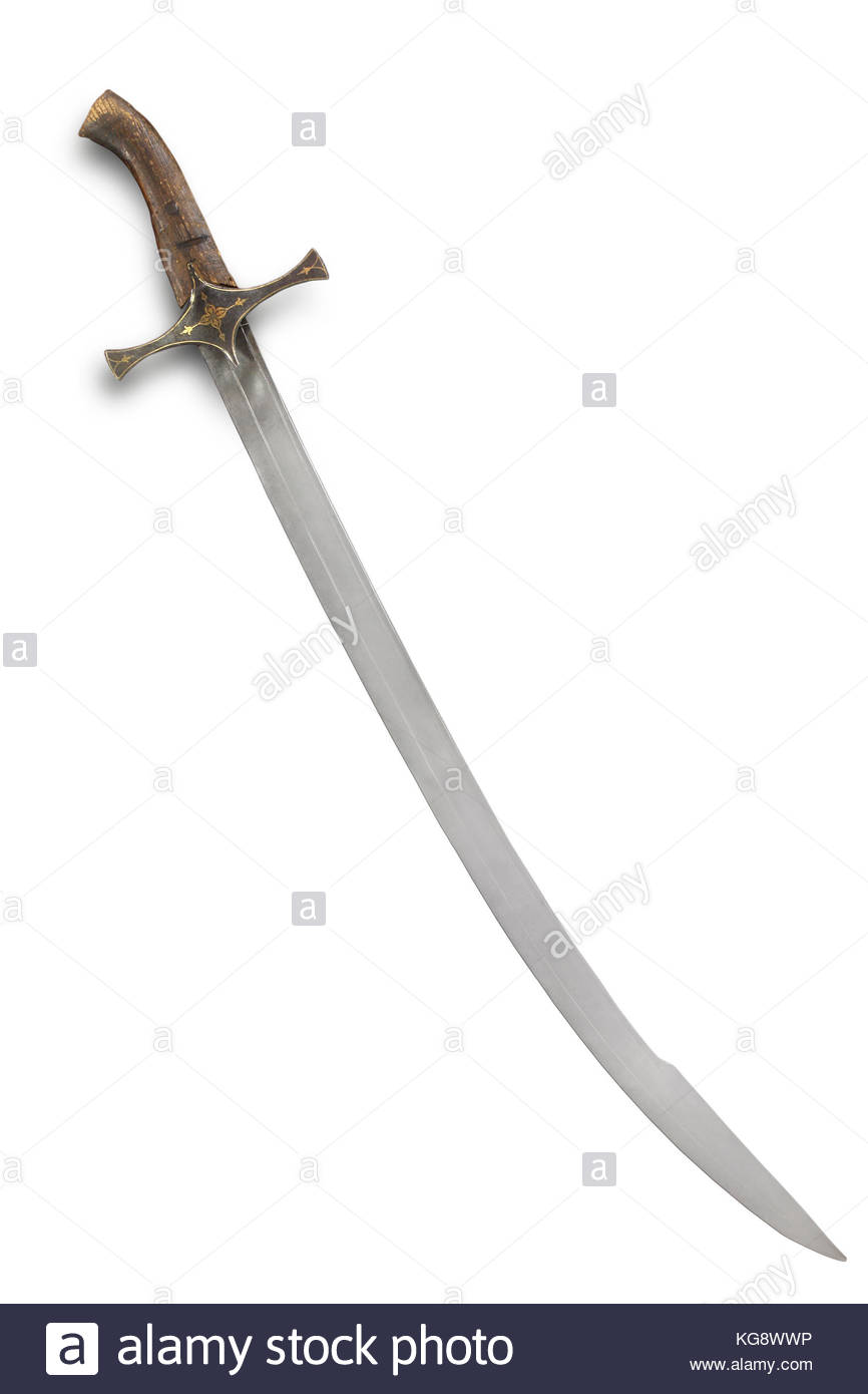 Balkan saber (sabre) of the 16-17th centuries. Path on the white background. - Stock Image