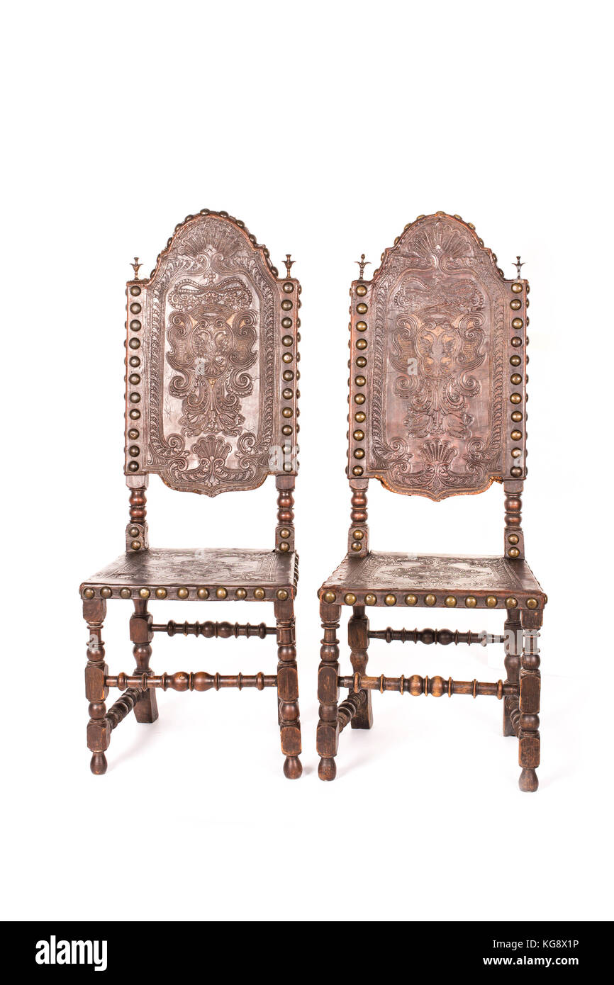 Antique wood chairs on the white background. - Stock Image
