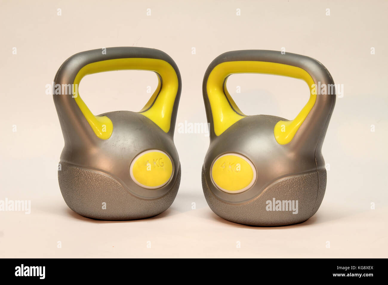 Kettlebell / Inscription on the weighing problem: 4 kg - Stock Image