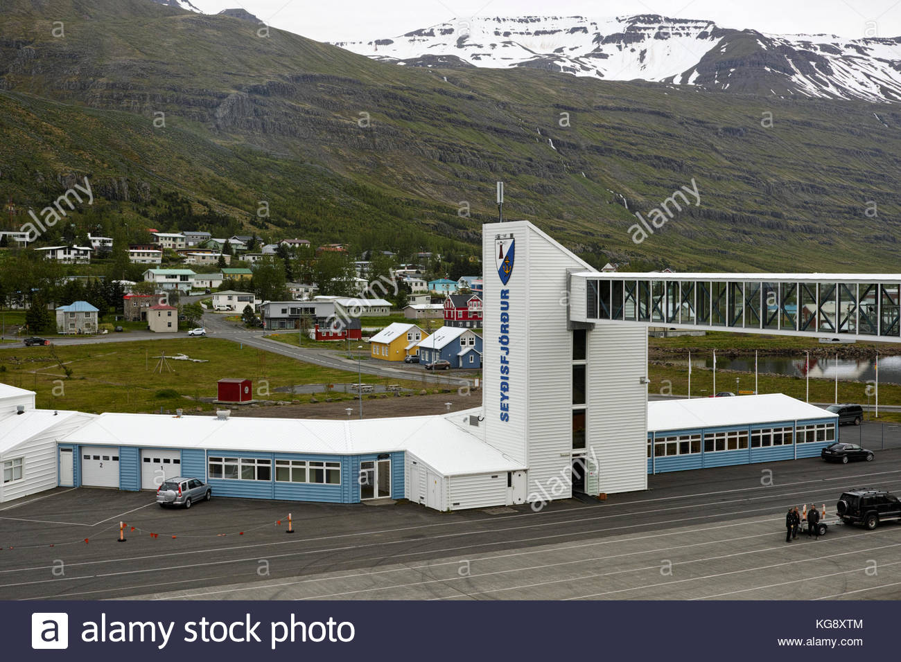 Ferry terminal and cruise port of Seydisfjordur: Iceland. - Stock Image
