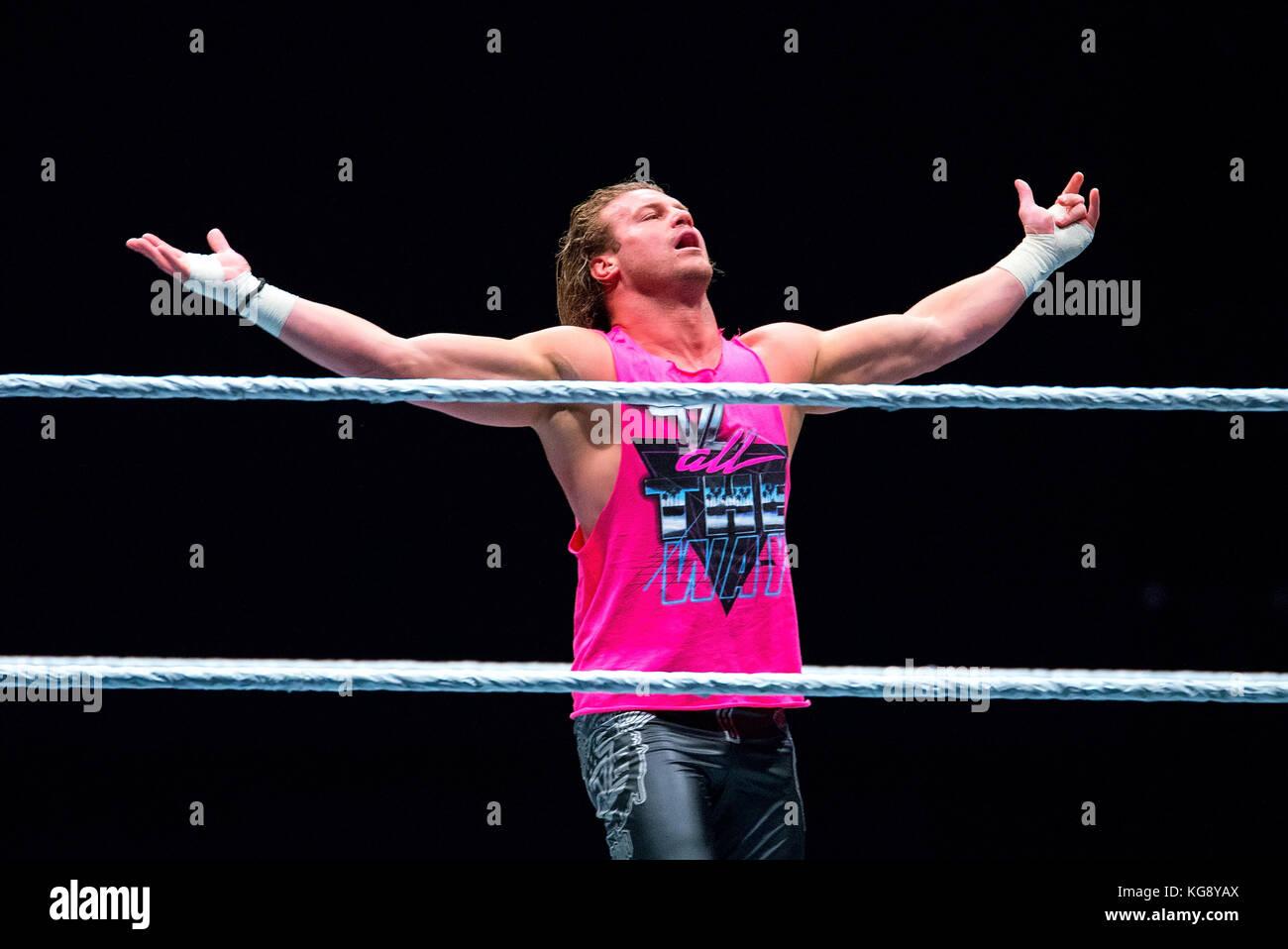 BARCELONA - NOV 4: The wrestler Dolph Ziggler in action at WWE Live at the Palau Sant Jordi on November 4, 2017 - Stock Image