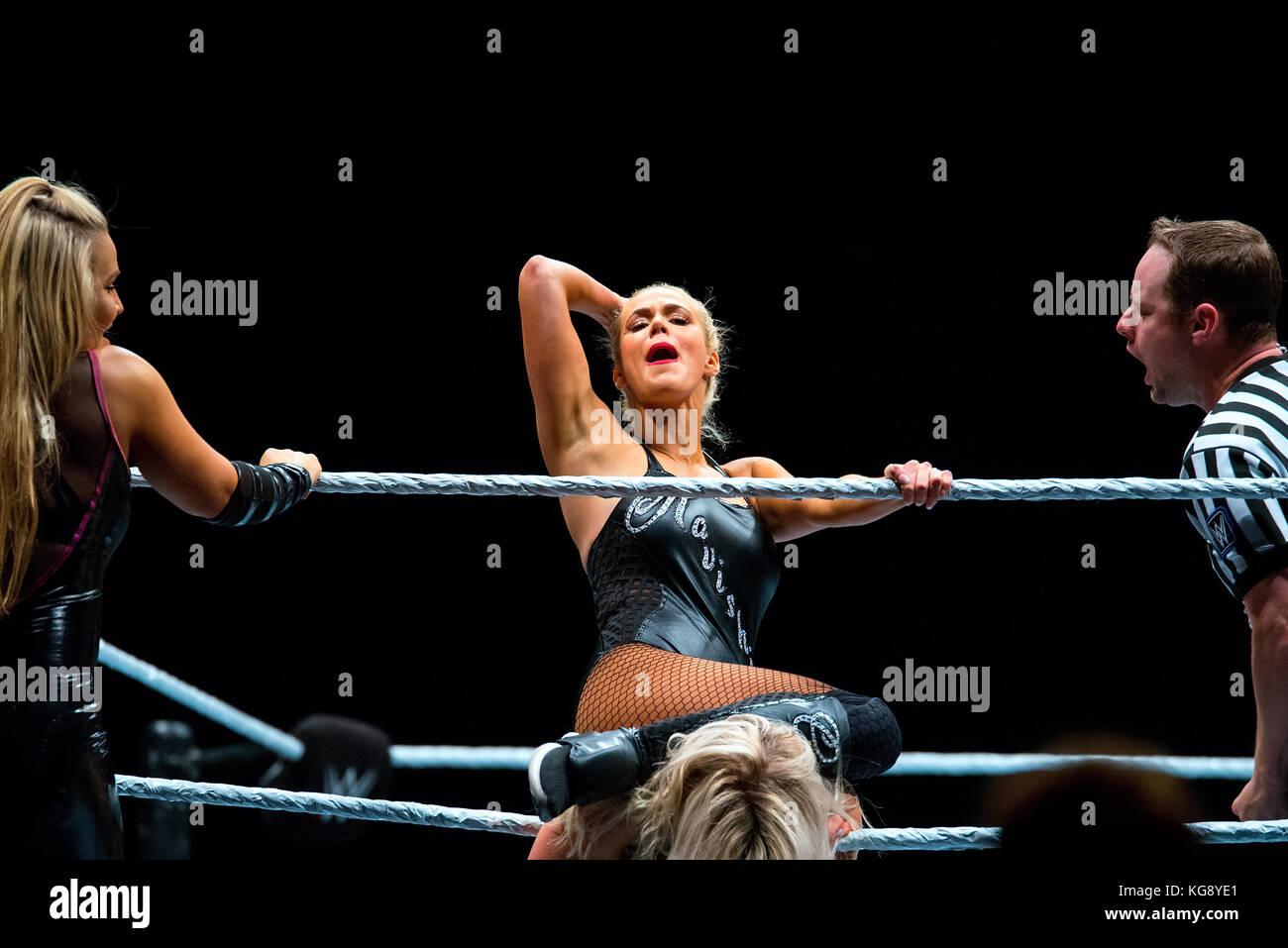 BARCELONA - NOV 4: The wrestler Charlotte Flair in action at WWE Live at the Palau Sant Jordi on November 4, 2017 - Stock Image