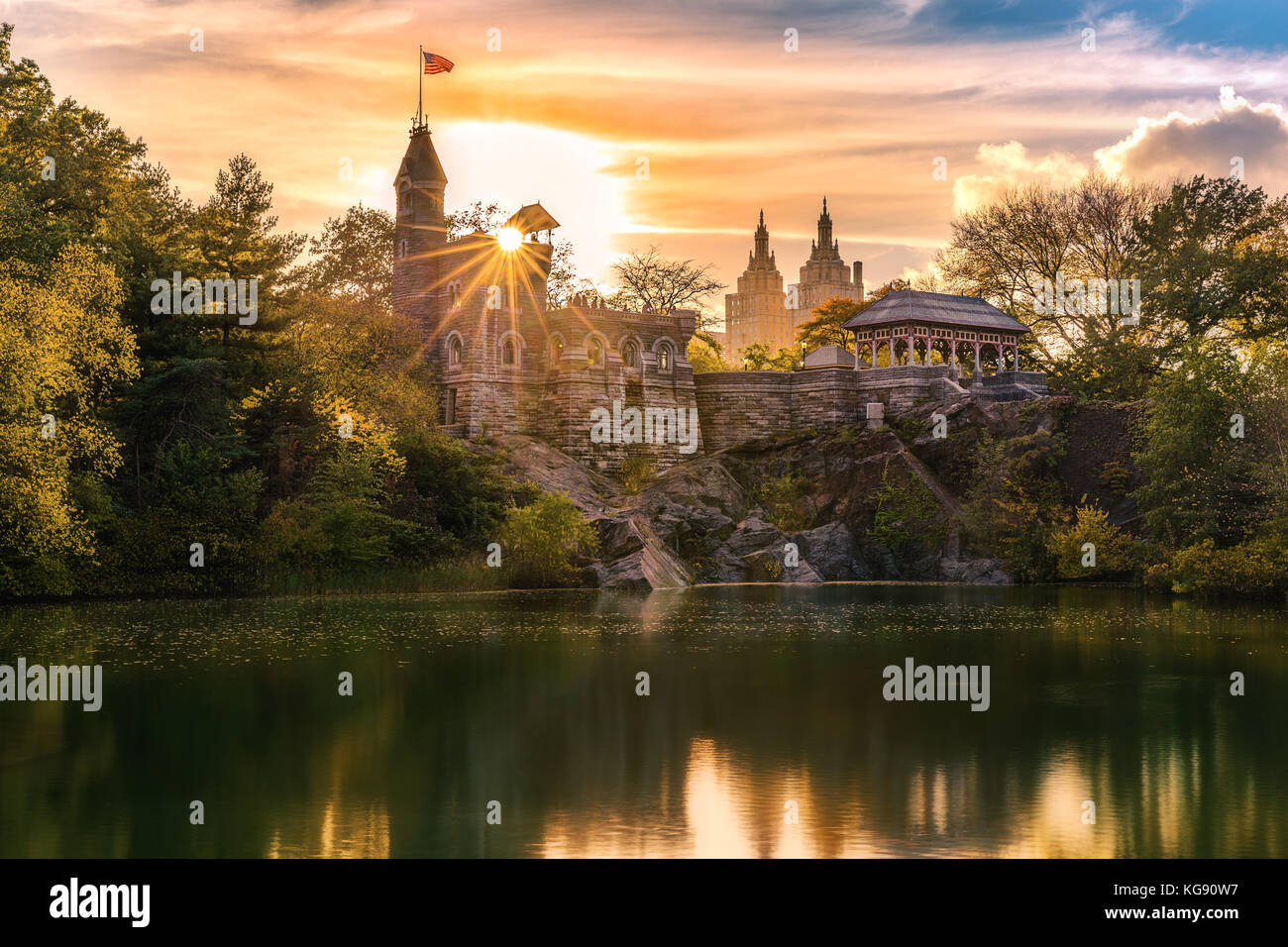 Belvedere Castle at sunset. Belvedere Castle is a folly built in the late 19th century in Central Park, Manhattan, - Stock Image