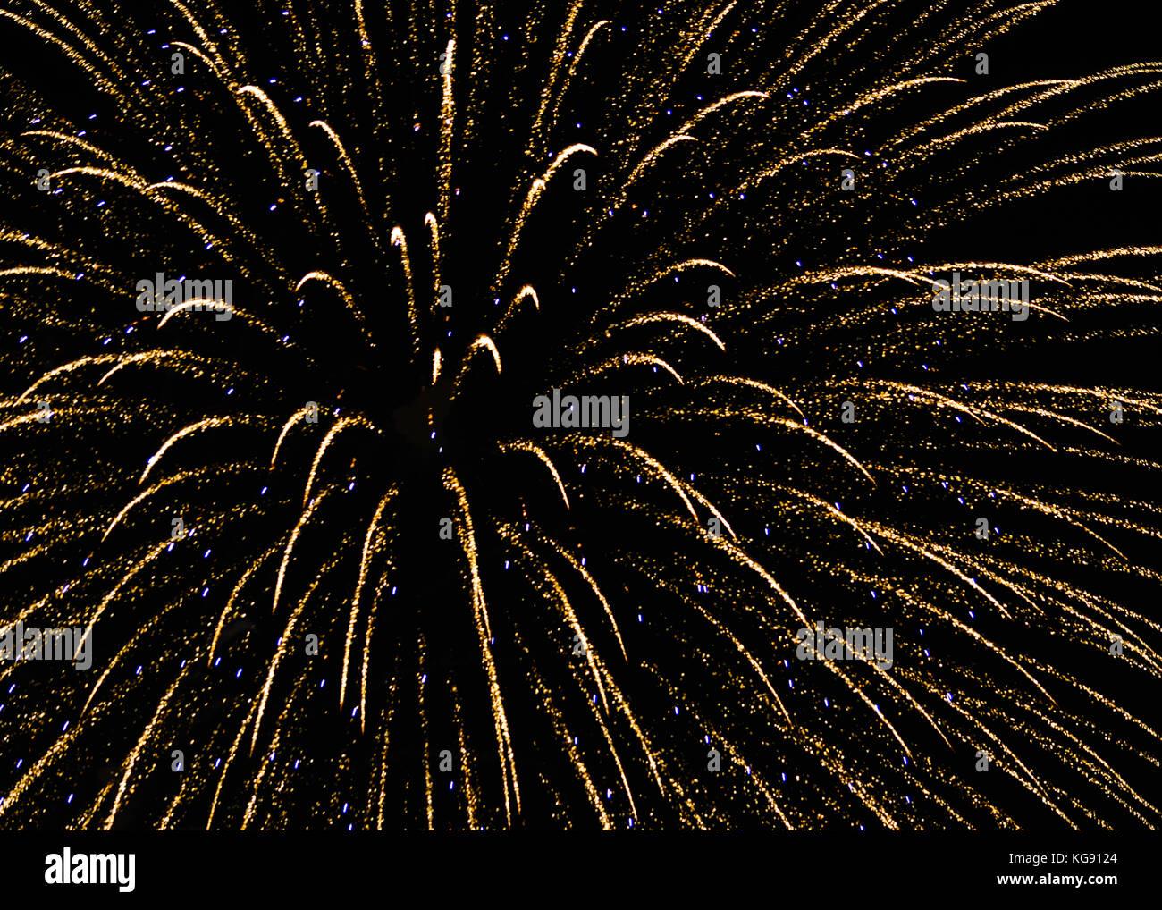 Nighttime fireworks show in Poulsbo, Washington on July Third Stock Photo