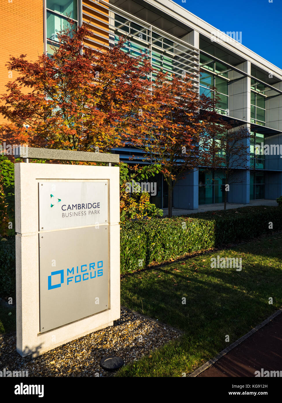 Micro Focus offices on Cambridge Business Park - the building was acquired when Micro Focus bought HP Enterprises - Stock Image