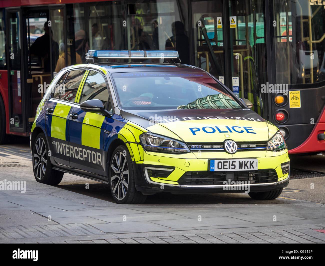 Eco Police Interceptor Car - City of London Police using a VW GTE Hybrid  as fast response interceptor - Stock Image