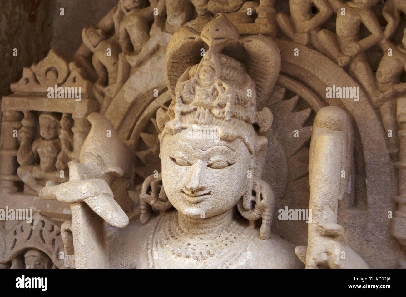 Balarama Sculpture closeup, Inner wall of Rani ki vav, an intricately constructed stepwell on the banks of Saraswati - Stock Image