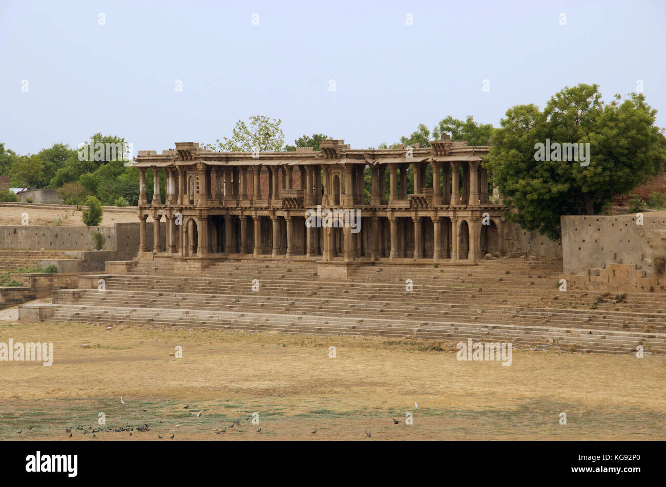 Partial view of Sarkhej Roza, mosque and tomb complex. Makarba, Ahmedabad, Gujarat, India - Stock Image