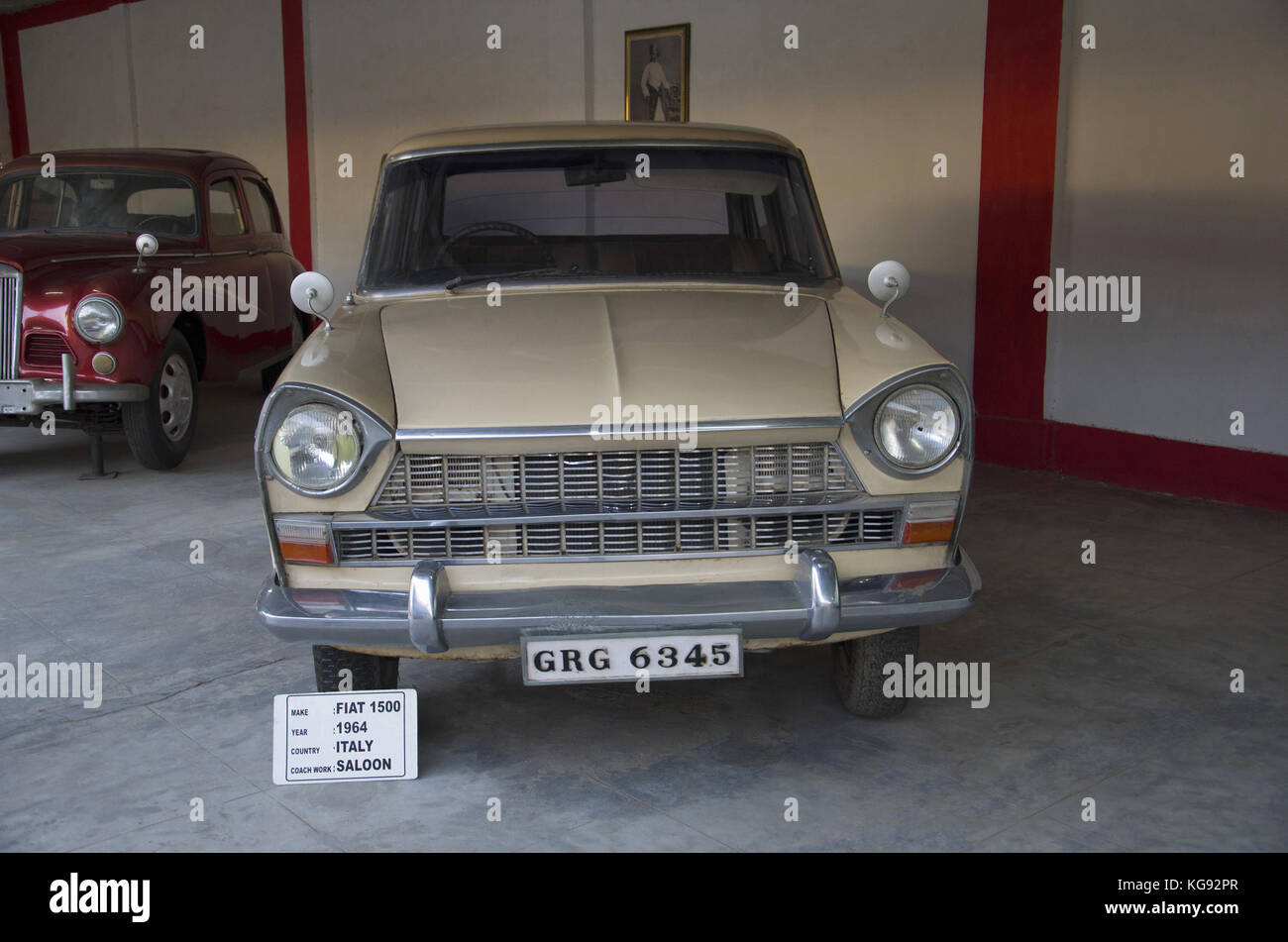 Fiat 1500 (Year 1964), Coach work - saloon, Italy Auto world vintage car museum, Ahmedabad, Gujarat, India Stock Photo