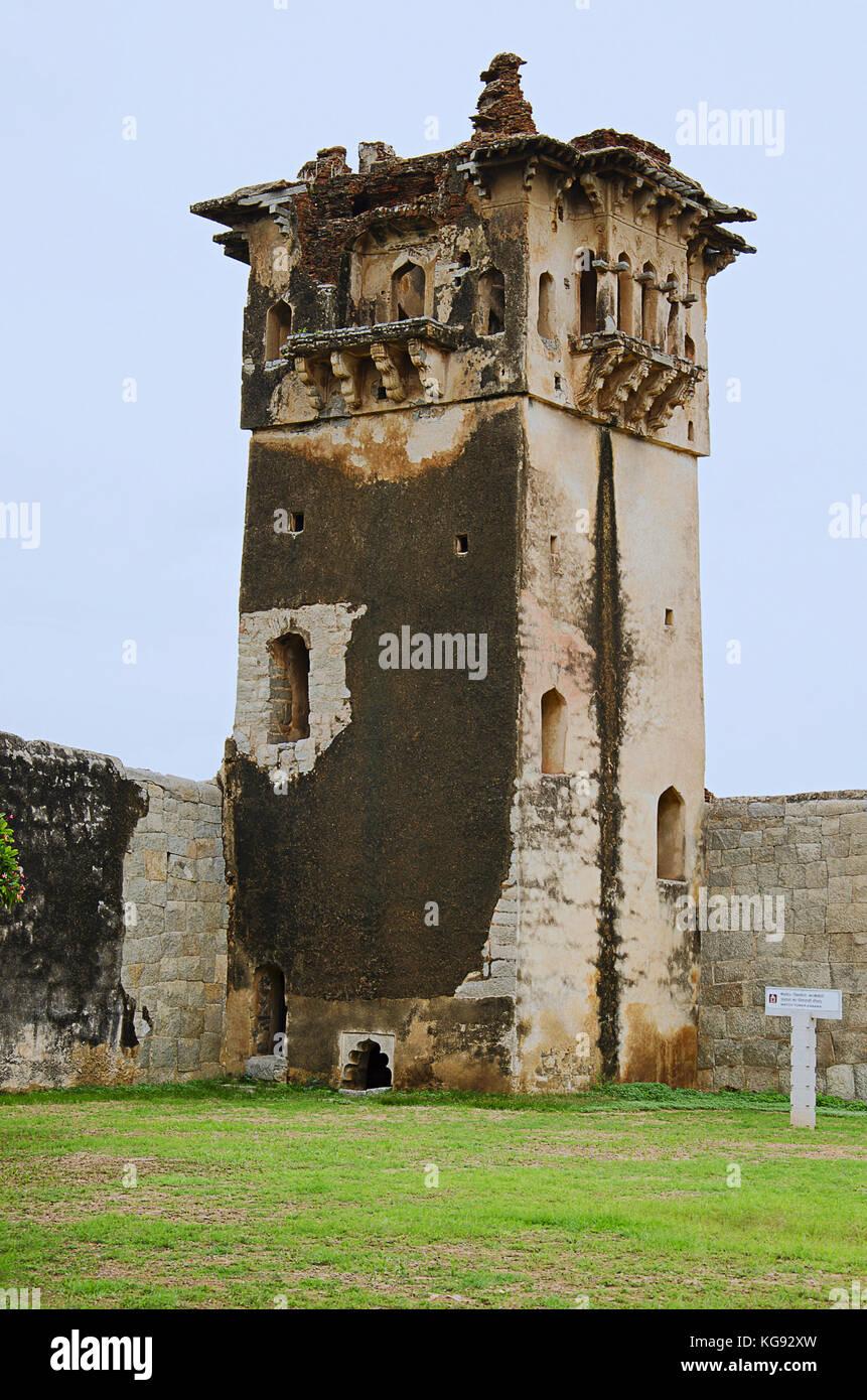 Watch tower of royal fort Zenana Enclosure, Hampi, Karnataka, India - Stock Image