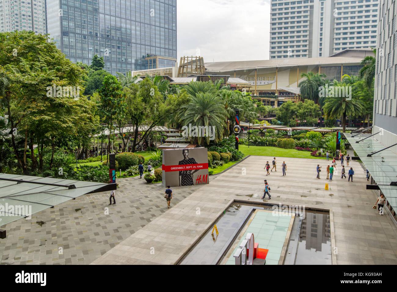 Nov 5, 2017 Greenbelt park Panoramic view from Greenbelt 5, Makati - Stock Image
