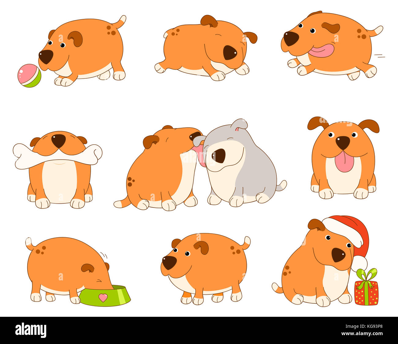 set of cute red dog in kawaii style funny happy laughing playing