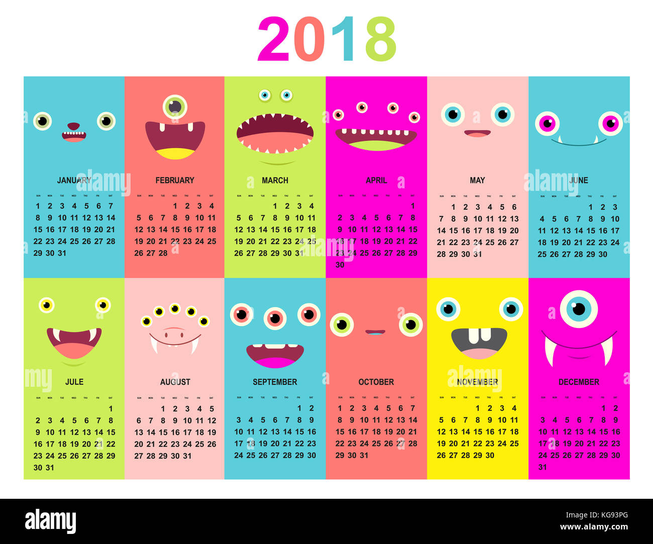 monthly calendar 2018 with cute monsters faces of green blue yellow pink