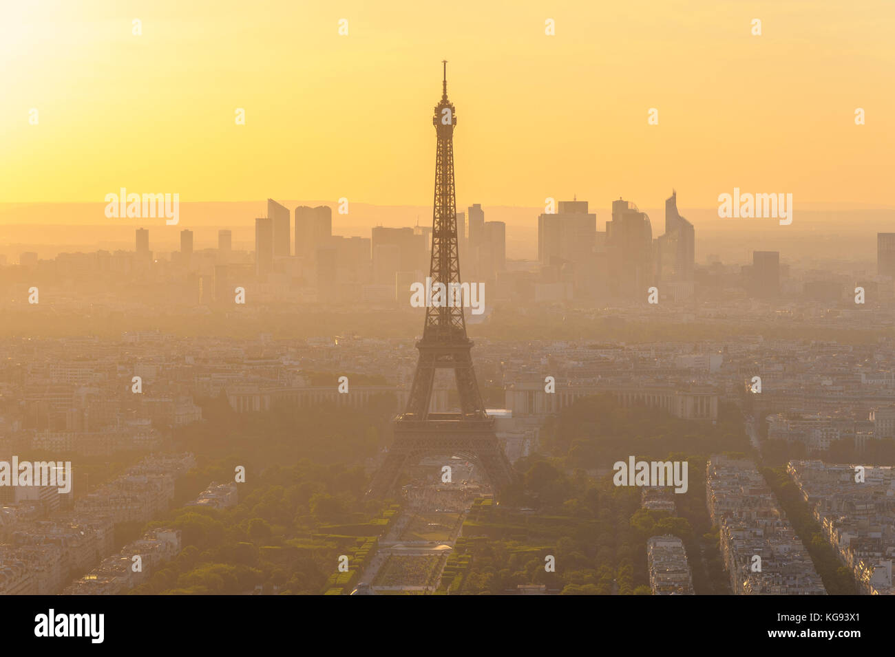 cityscape of paris in the dusk with eiffel tower Stock Photo