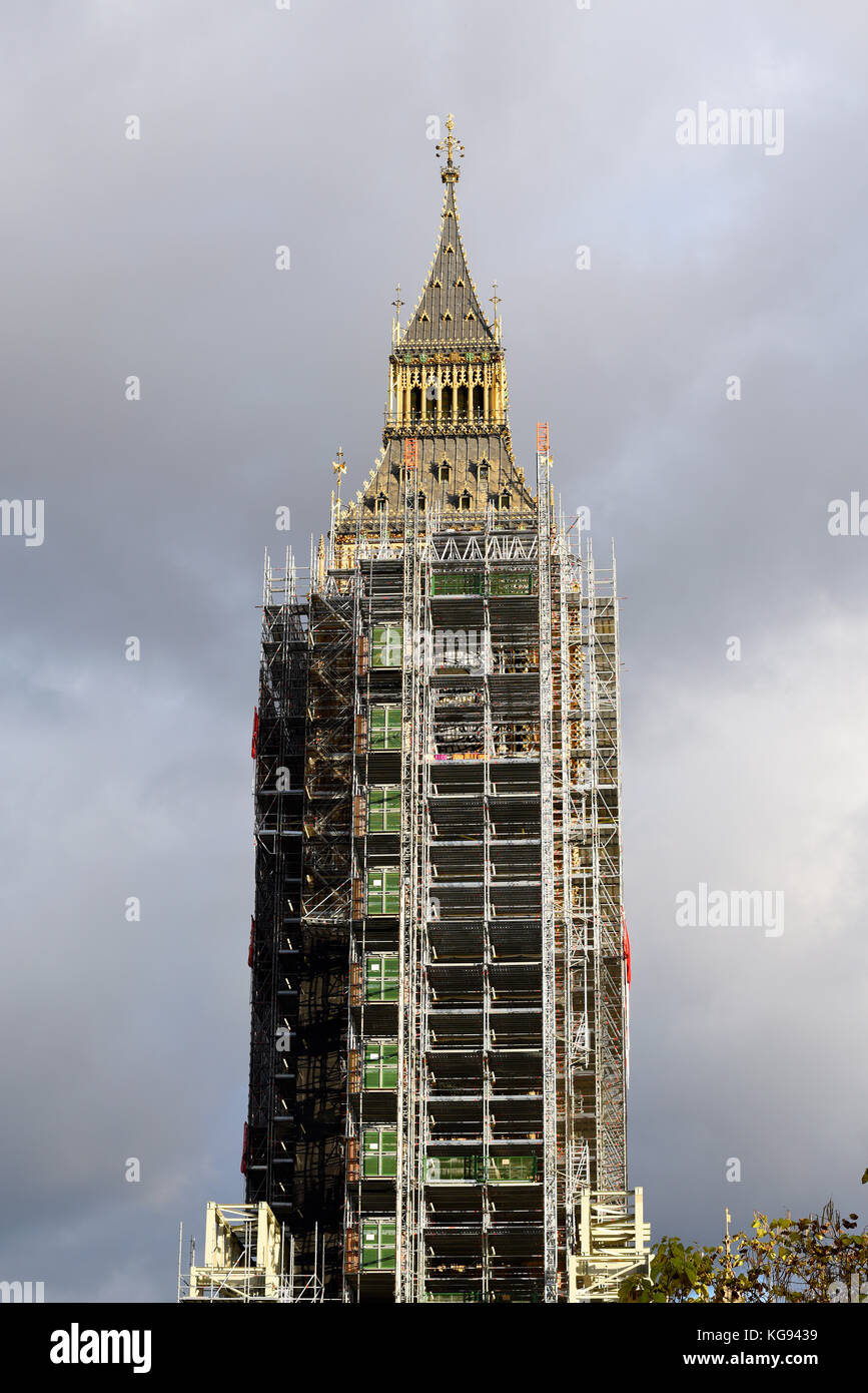 Scaffolding enveloping Big Ben Elizabeth Tower Palace of Westminster Houses of Parliament for restorations renovations Stock Photo