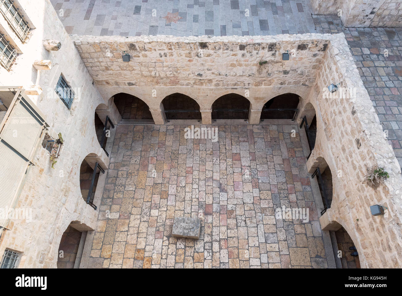 The cobblestones courtyard in Jerusalem Old City, Israel. - Stock Image