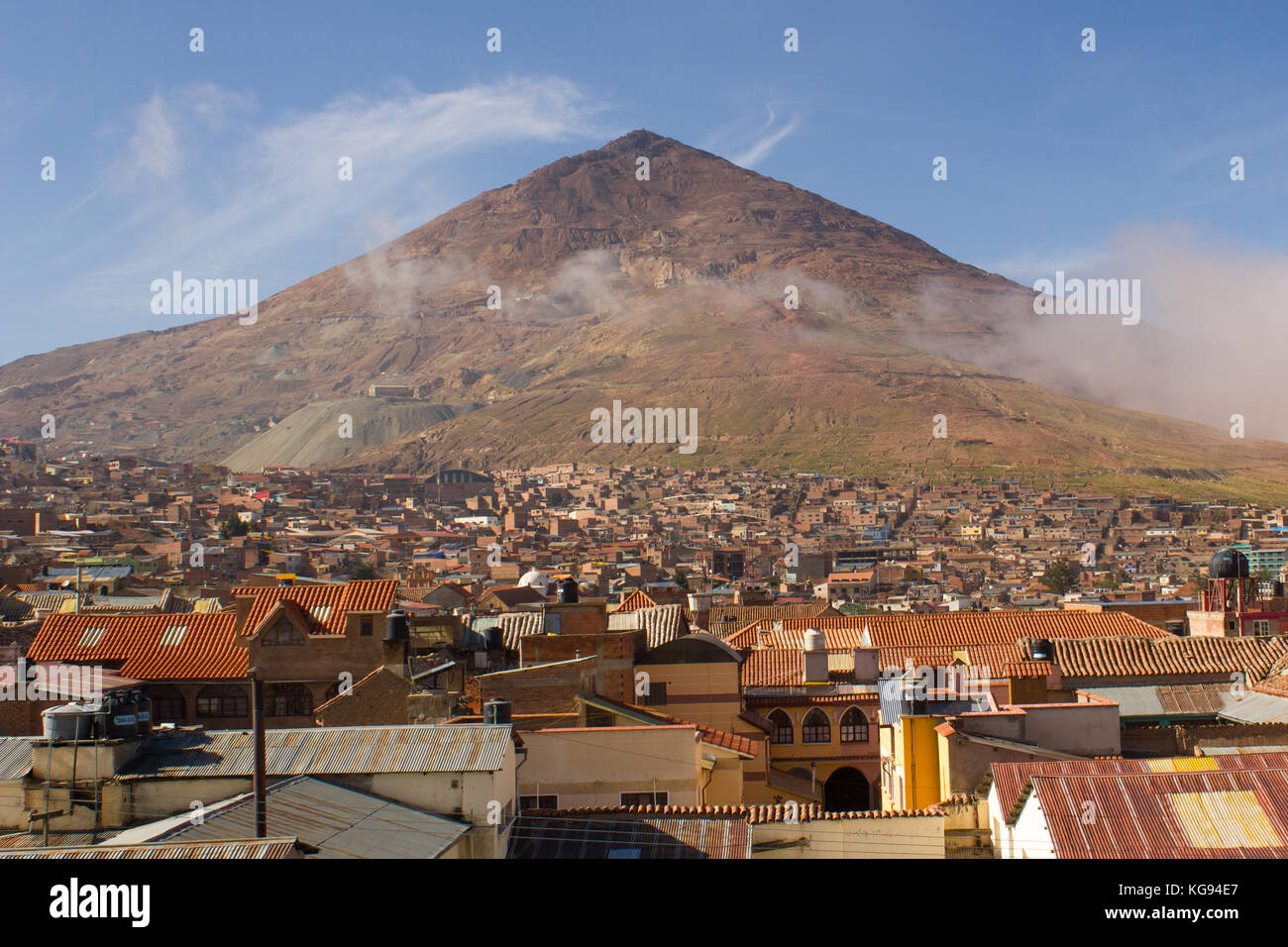 Rooftop View to Cerro de Potosi or Cerro Rico, Potosi, Bolivia - Stock Image