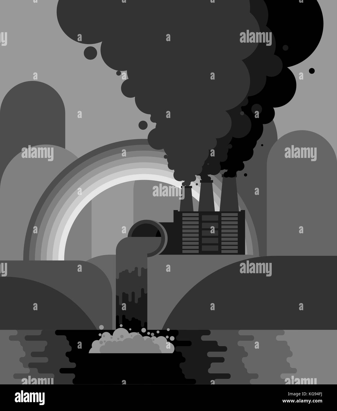 Industrial landscape. Plant emissions into river. Environmental pollution. Black smoke from pipes of factory. Gray - Stock Vector