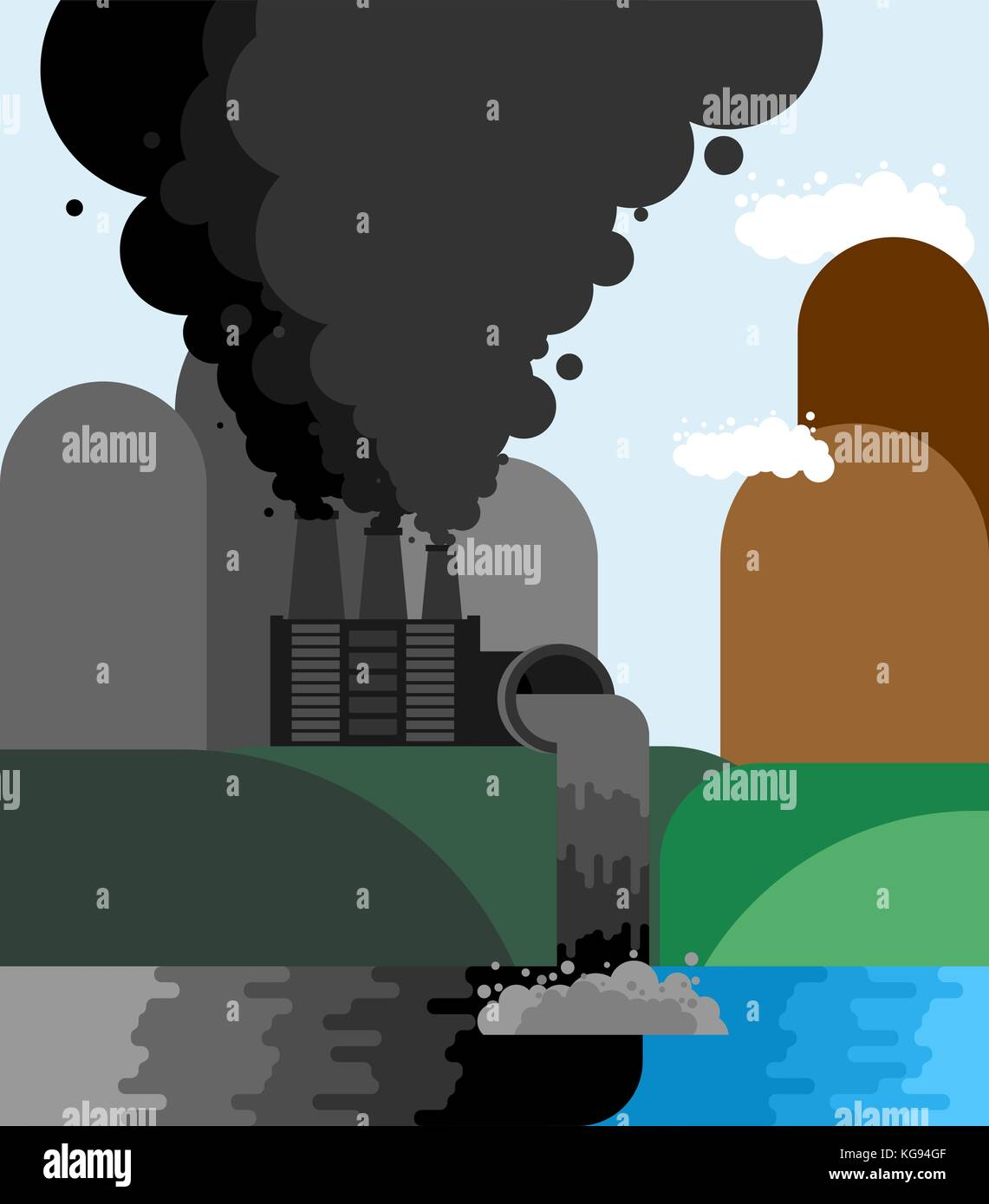 Industrial landscape. Plant emissions into river. Environmental pollution. Black smoke from pipes of factory. Ecological Stock Vector
