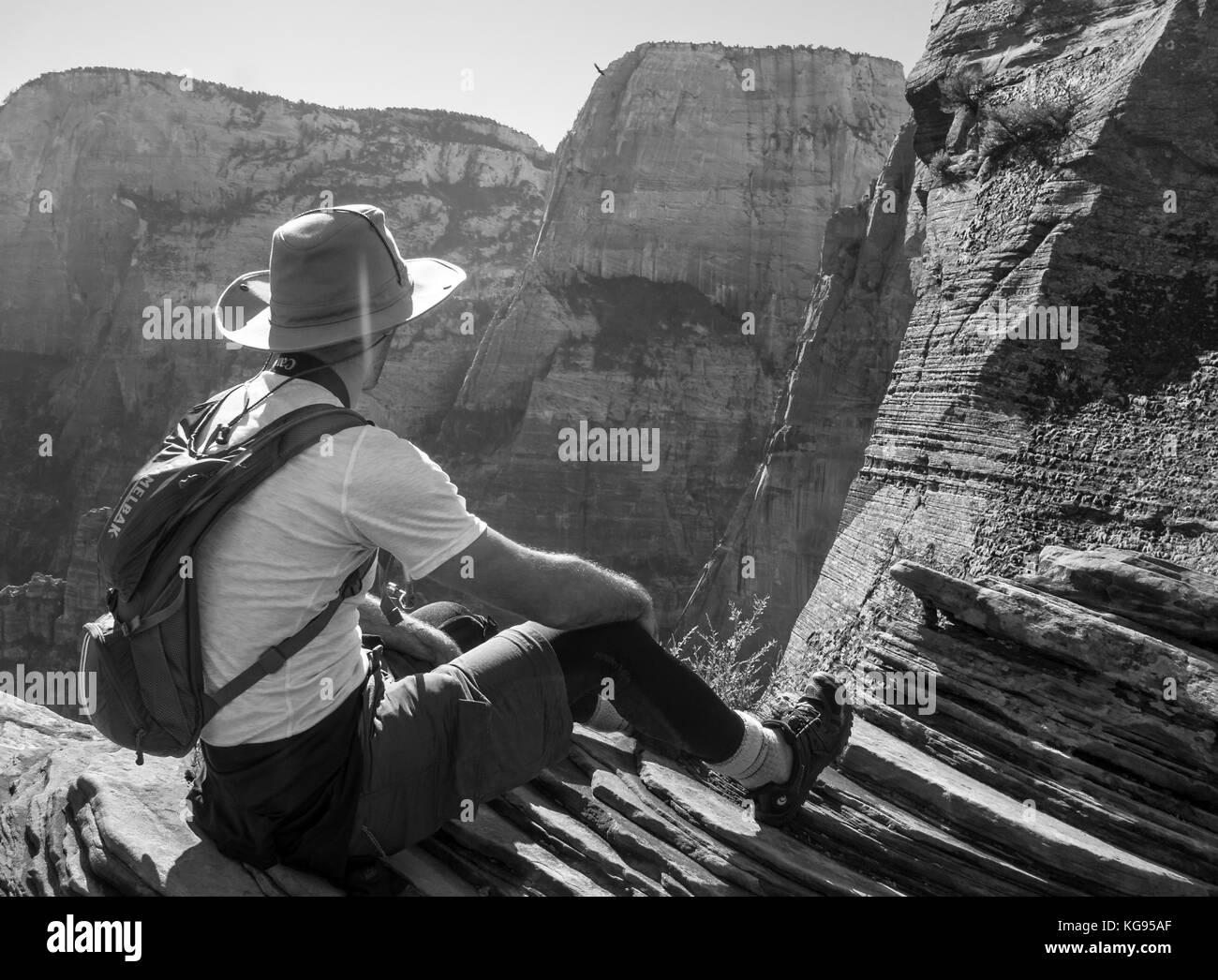 Guy Backpacking in Grand Canyon Stock Photo