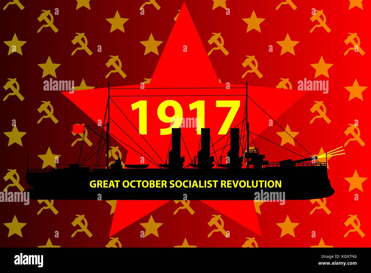 Russian Revolution, Shot of the insurgent cruiser Aurora - Russian revolution began, Great October Socialist Revolution, - Stock Vector