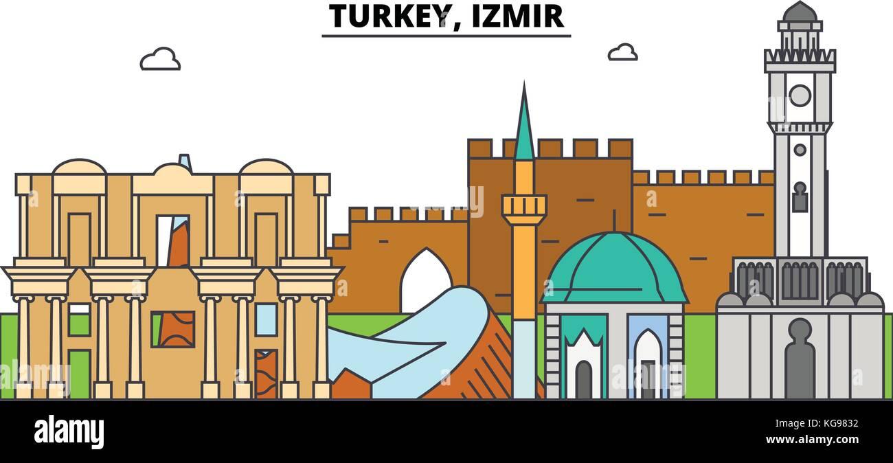 Turkey Izmir Outline Skyline Turkish Flat Thin Line Icons Stock Vector Image Art Alamy