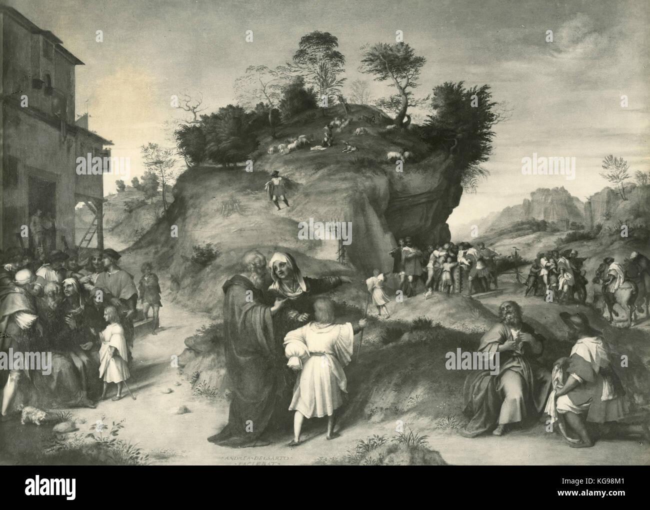 History of Joseph the Hebrew, painting by Andrea del Sarto - Stock Image