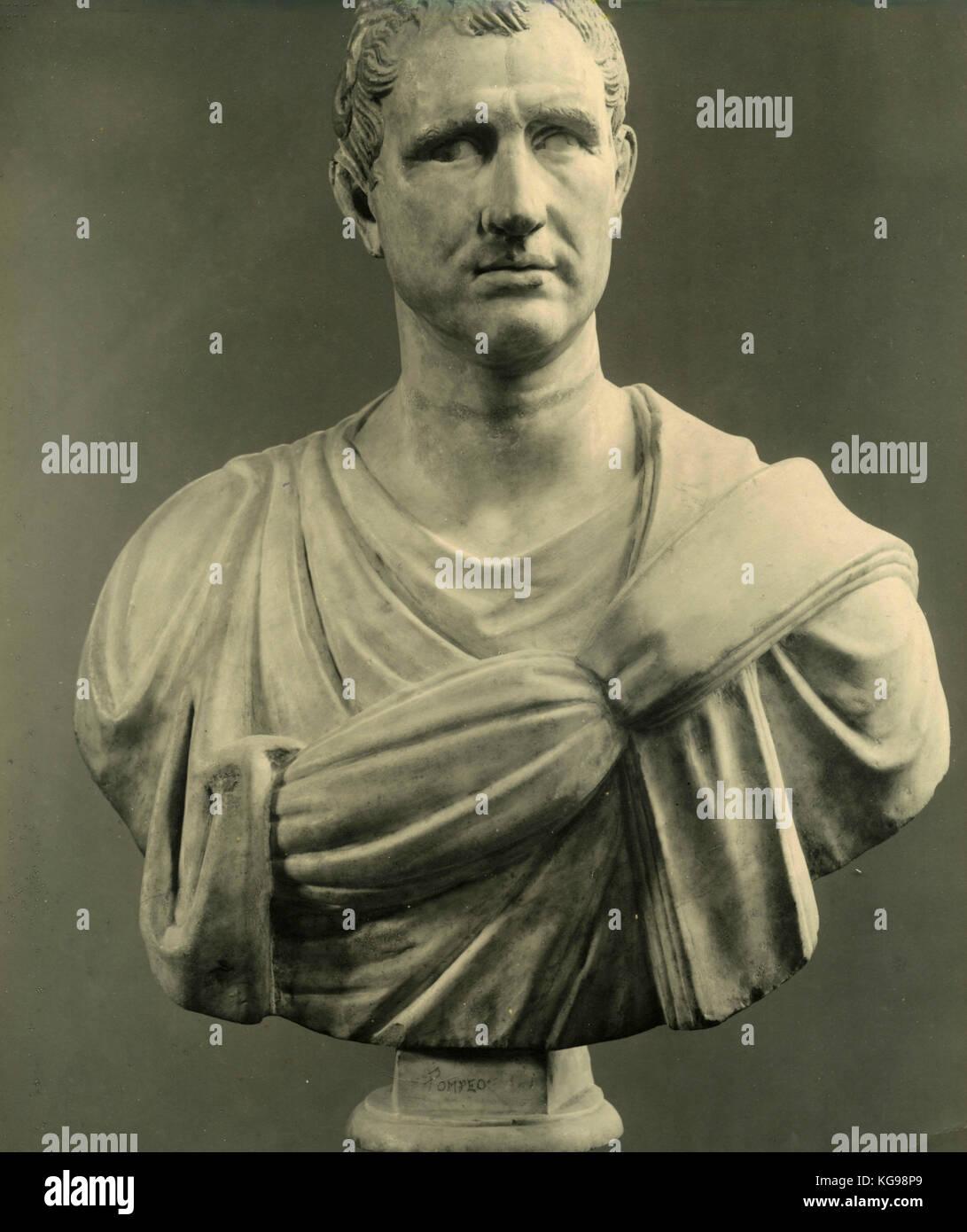 Pompeus Magnus, marble bust statue - Stock Image