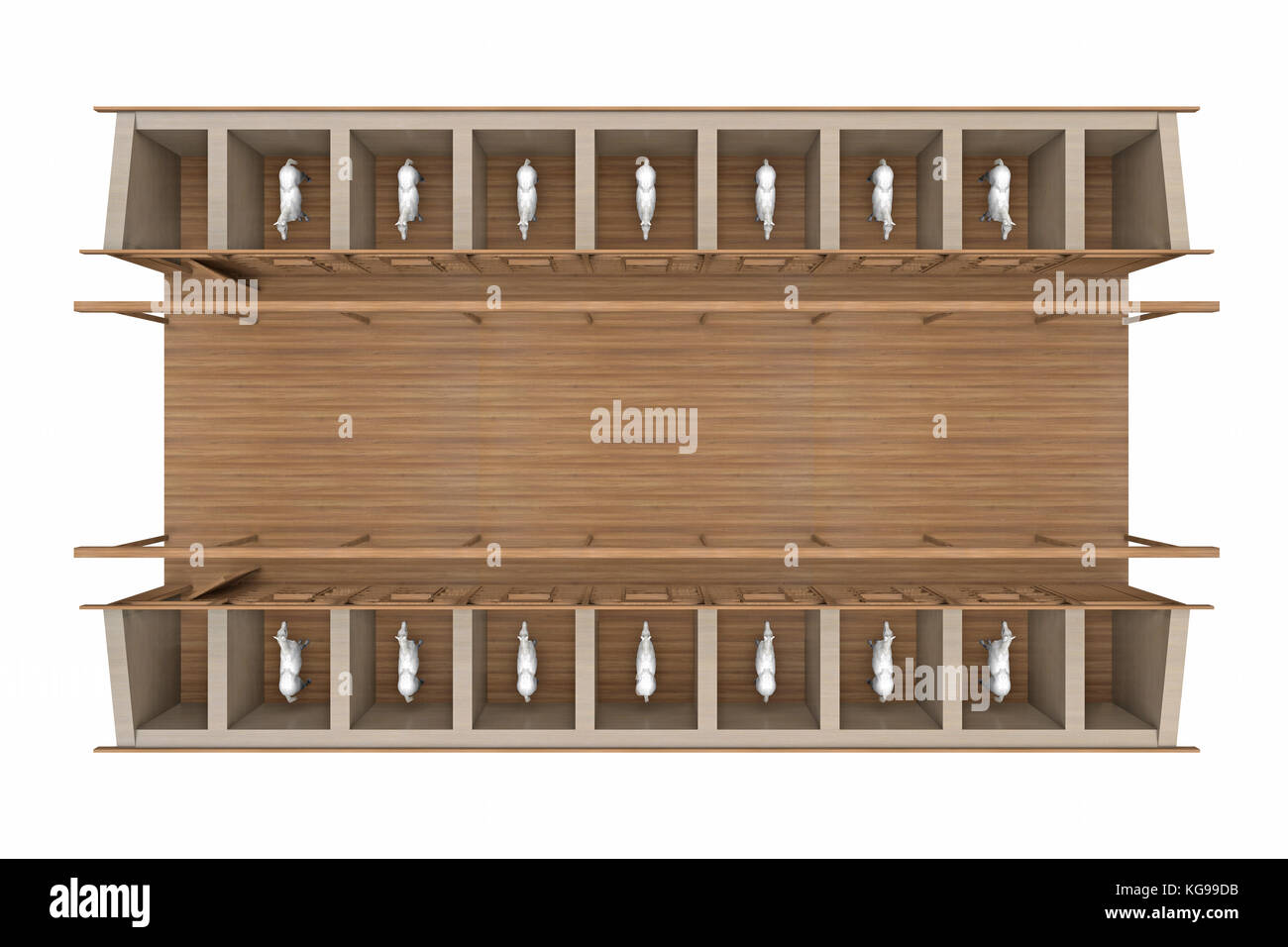 horse stable top view isolated on white. 3d rendering - Stock Image