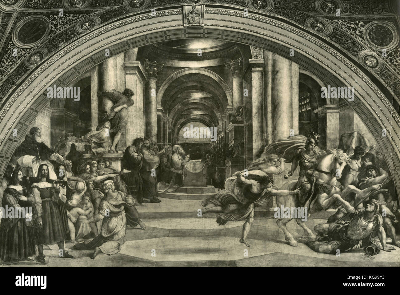 The Expulsion of Heliodorus from the Temple, Rapheal's Rooms, Vatican City - Stock Image