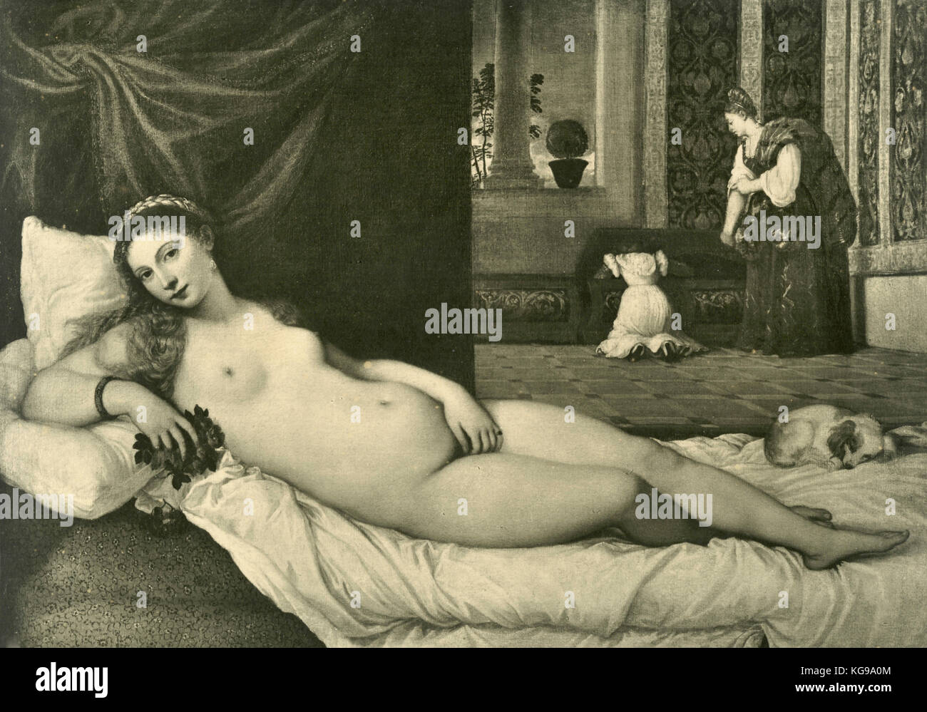 Venus or the lover of the Duke of Urbino, painted by Titian - Stock Image