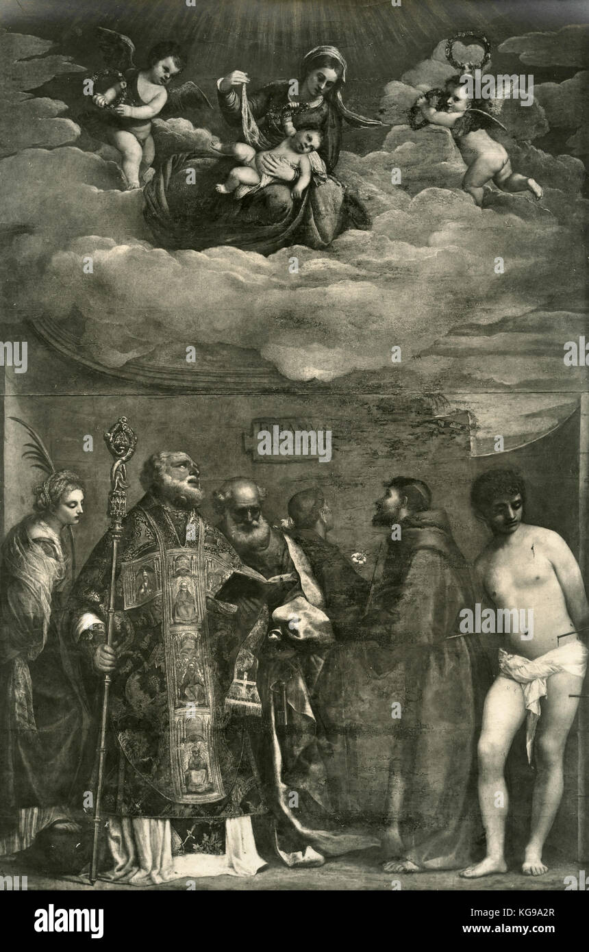 Virgin with Saints, painting by Titian - Stock Image