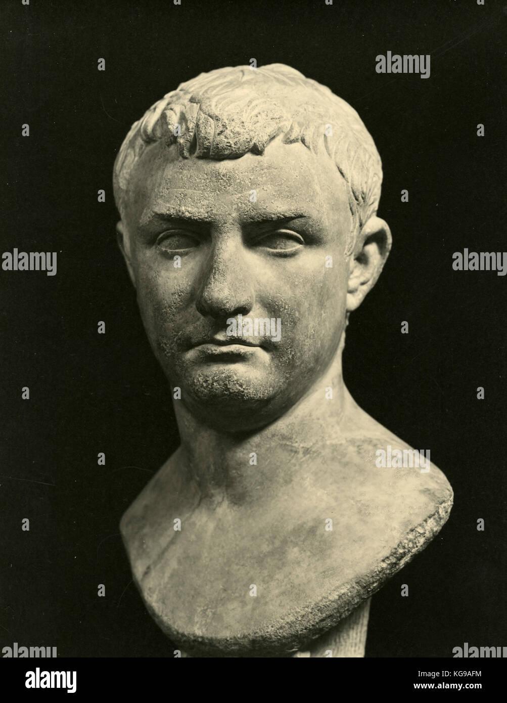 Marble head statue of Pompeus Magnus - Stock Image