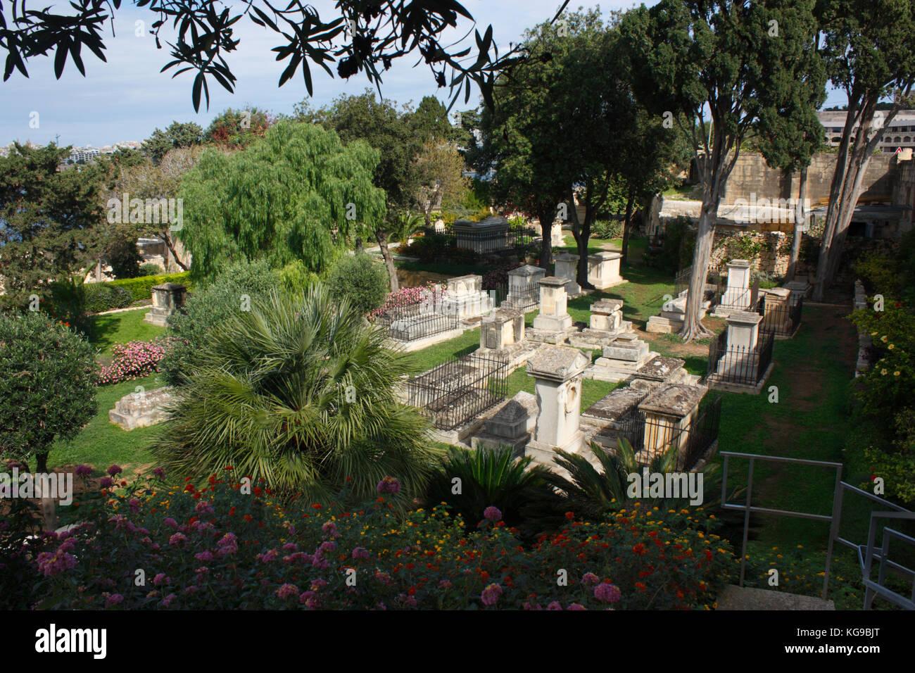 Msida Bastion Garden of Rest, Floriana, Malta Stock Photo