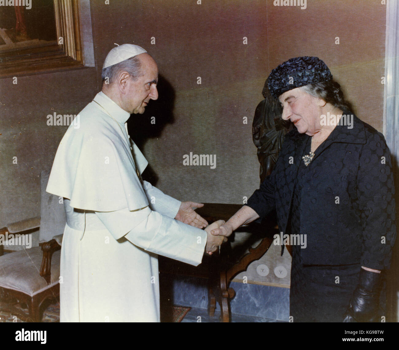 Pope Paul VI and Israeli PM Golda Meir, 1973 - Stock Image