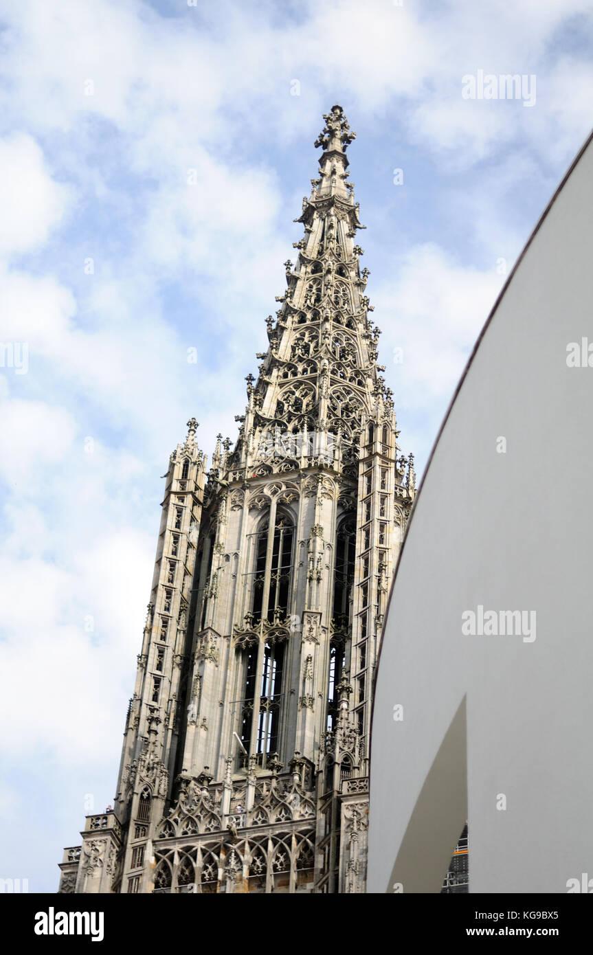 steeple of Ulm Minster Stock Photo