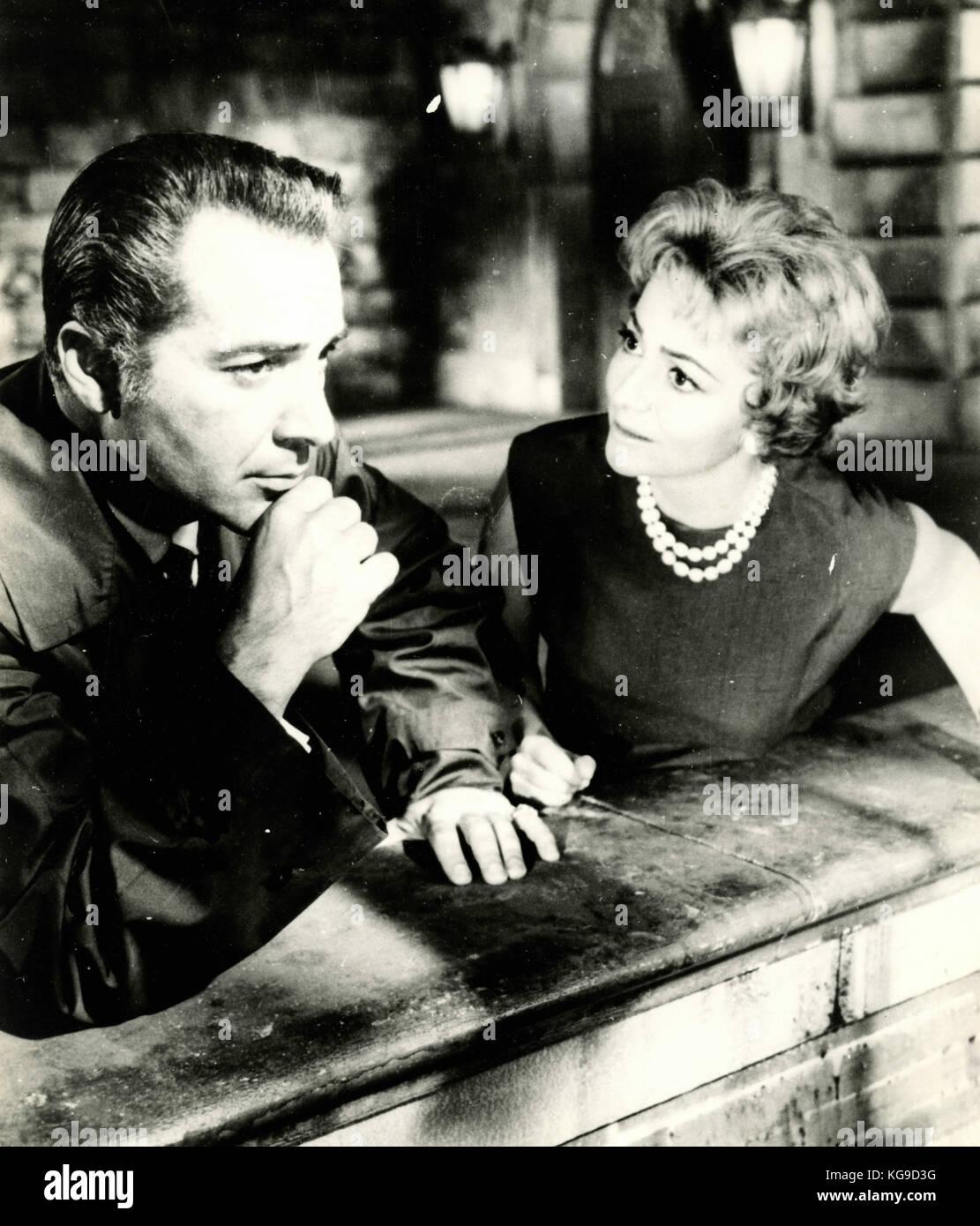 Actors Olivia De Havilland and Rossano Brazzi in the movie Light in the piazza, 1962 - Stock Image