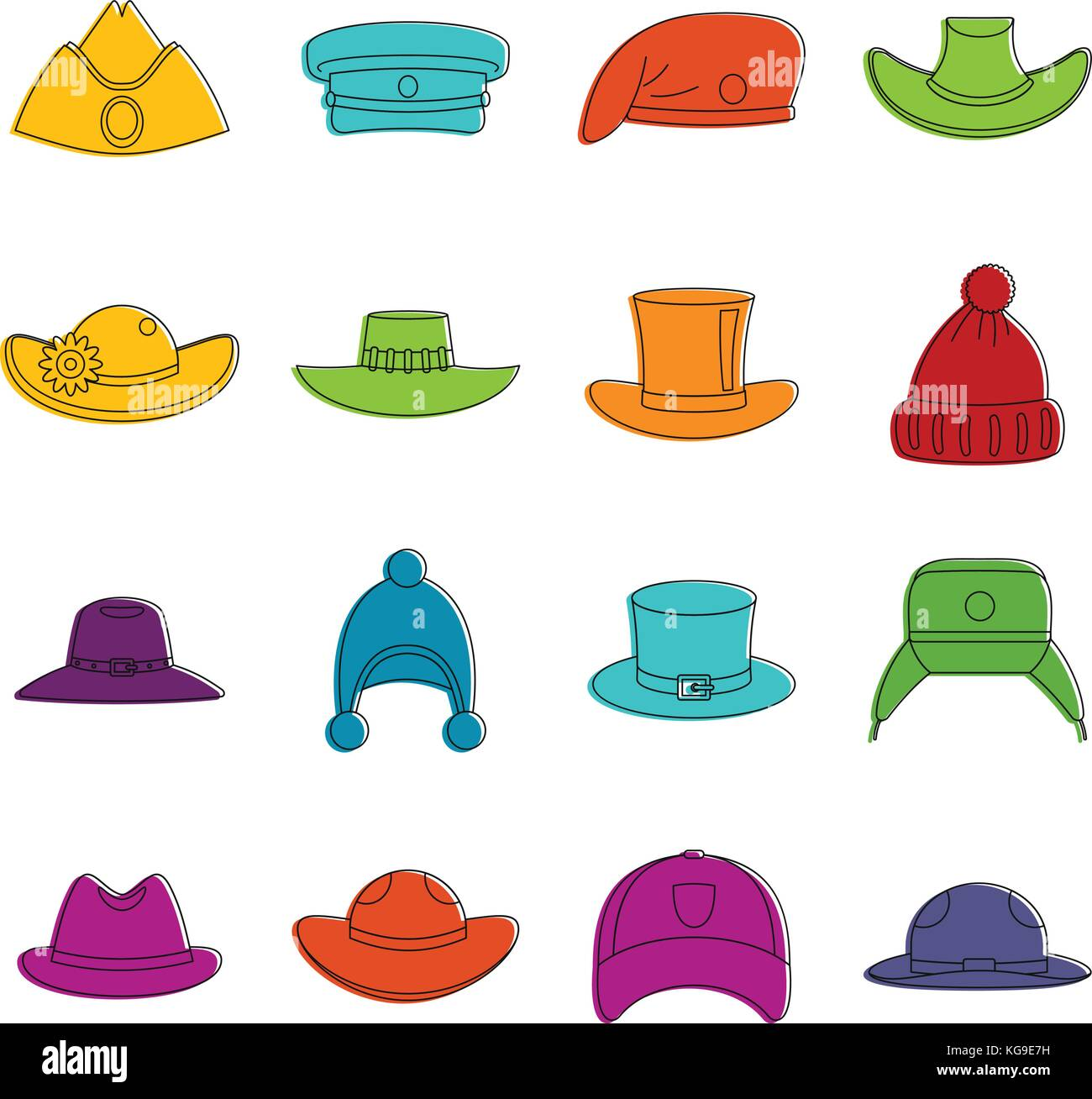 Headdress hat icons doodle set - Stock Image