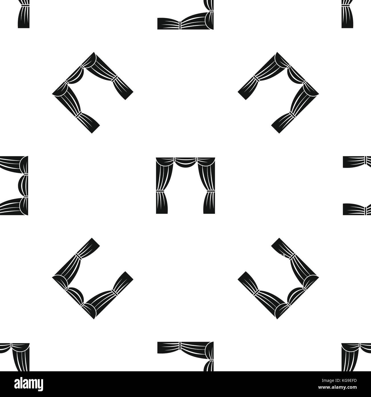 Curtain on stage pattern seamless black - Stock Vector