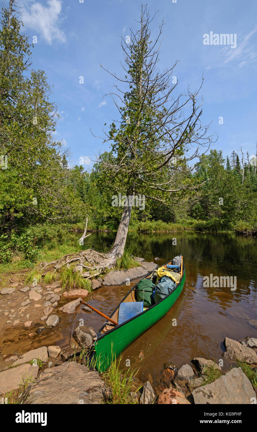 Packed and Ready to Go on Ham Lake in the Boundary Waters Canoe Wilderness in Minnesota - Stock Image