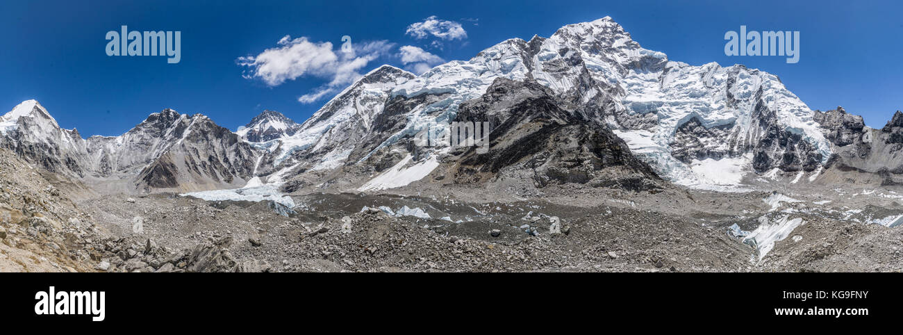 Day 8 of EBC Trek:  Panoramic of Everest Base Camp - Stock Image