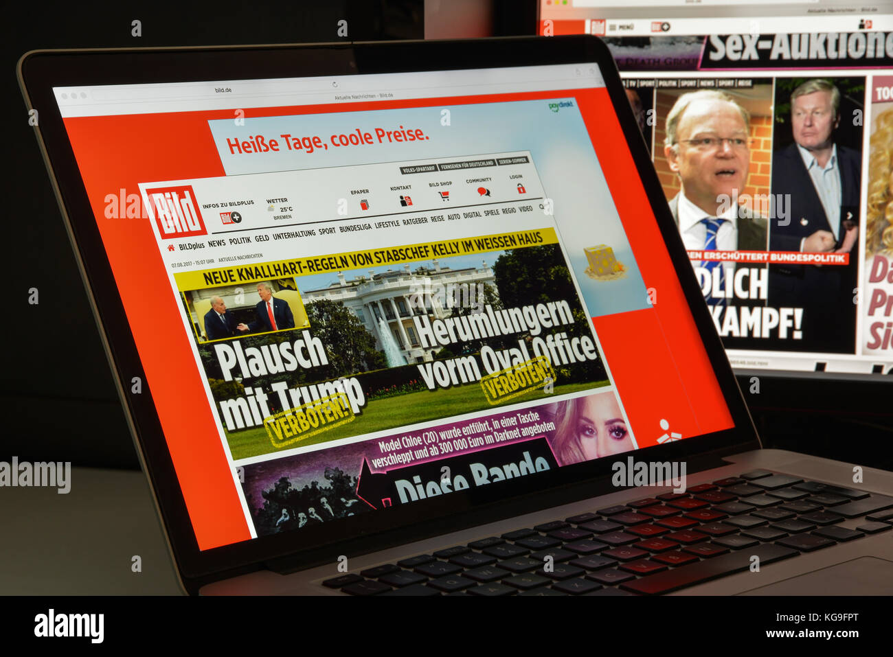 Milan, Italy - August 10, 2017: Bild website homepage. It is a German tabloid published by Axel Springer AG.. Bild Stock Photo