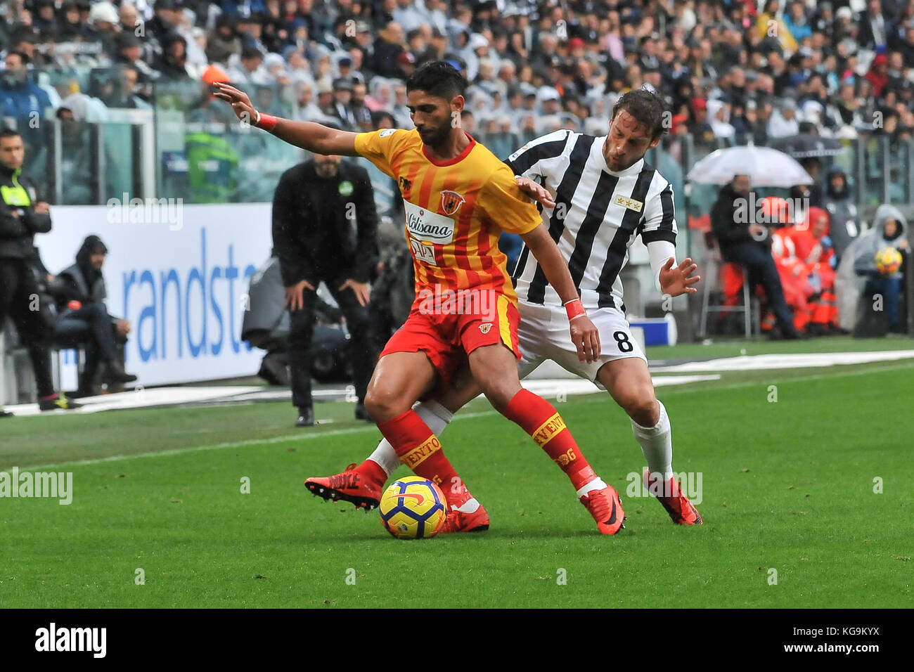 Turin, Italy. 5th November, 2017. during the Serie A football match between Juventus FC and Benevento Calcio at Stock Photo