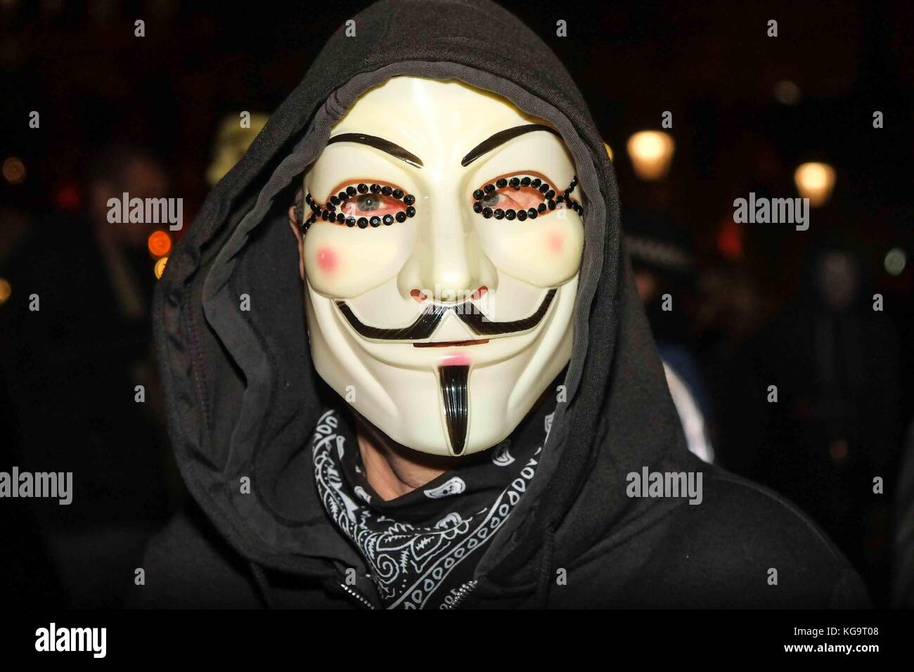 London Uk 5th Nov 2017 Protesters Many Of Whom Wear V For