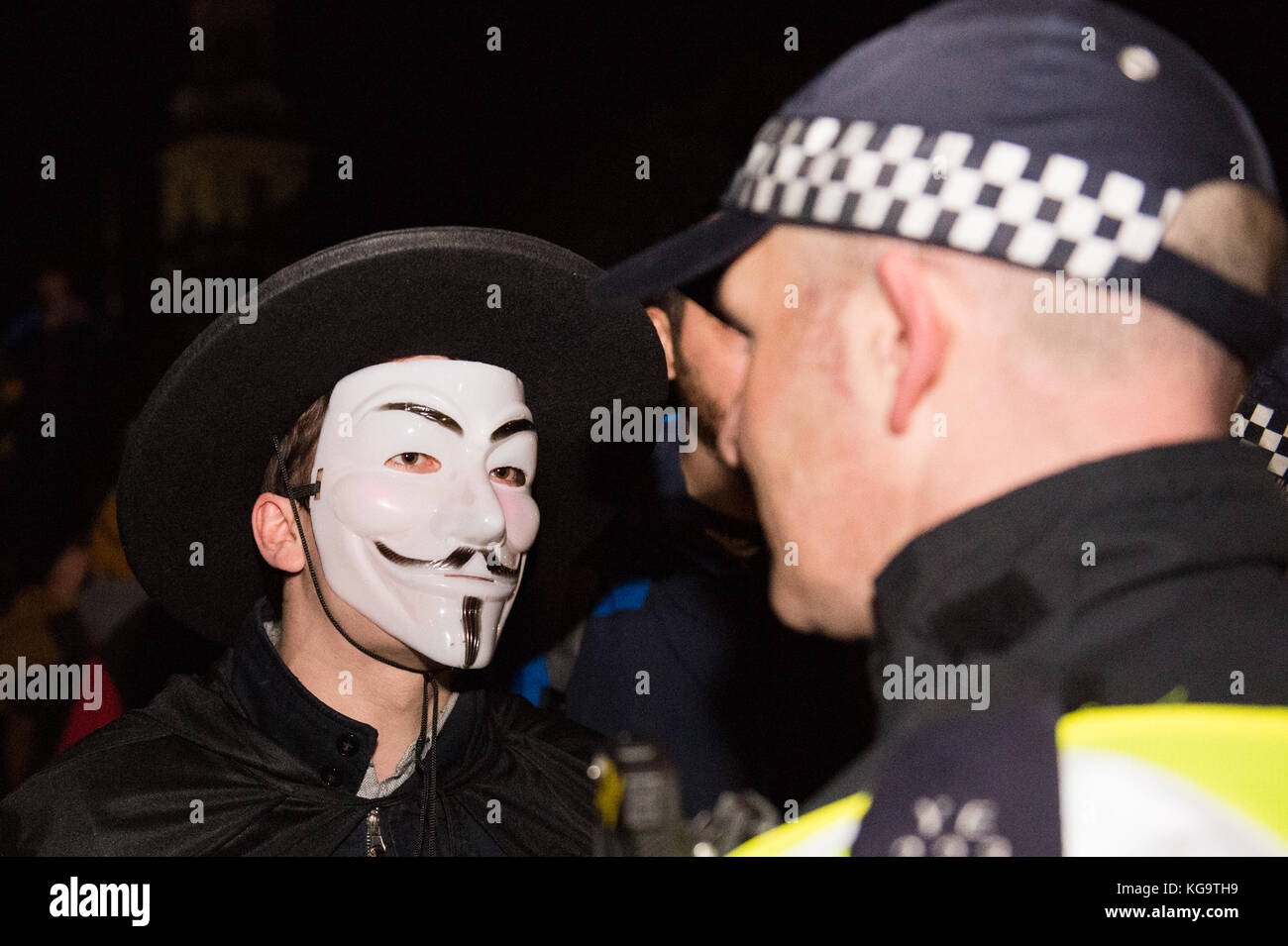 London, United Kingdom. 05th Nov, 2017. Million Mask March 2017 takes place in central London.A protester in a Guy Stock Photo